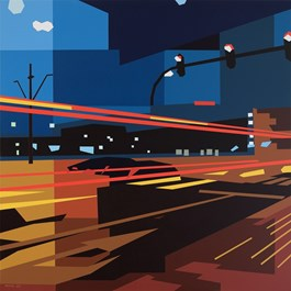 Living room painting by Jakub Napieraj titled In hurry (Night Walk series)
