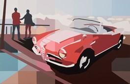 Living room painting by Jakub Napieraj titled Red Alpha Romeo