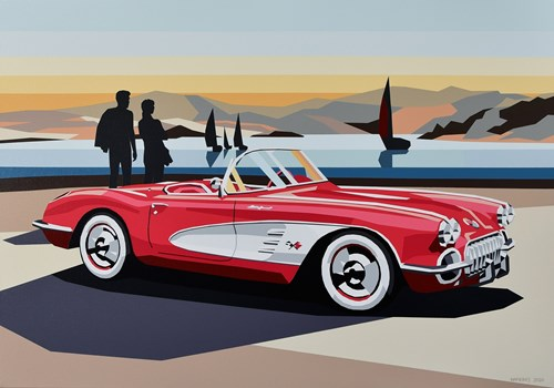 Living room painting by Jakub Napieraj titled Red Corvette