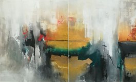 Living room painting by Małgorzata Pabis titled Moment of Clearness (diptych)
