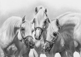 Living room painting by Magdalena Muraszko-Kowalska titled Three Horses II