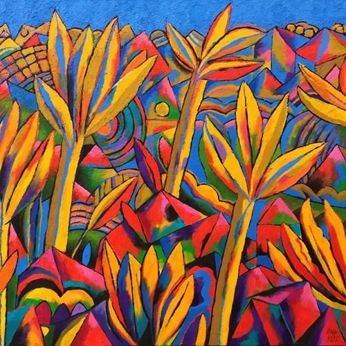Living room painting by Rafał Kostrzewa titled Kaleidoscope