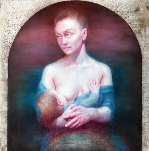 Obraz do salonu artysty Sylwester Stabryła pod tytułem Virgo Lactans