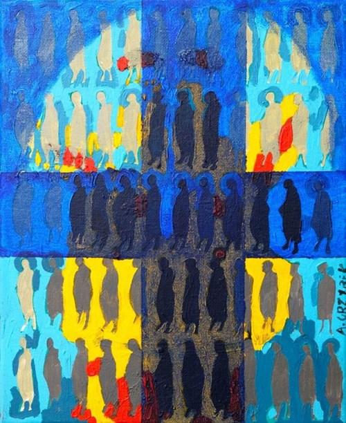 Obraz do salonu artysty Aleksander Grzybek pod tytułem Witraż w kamienicy