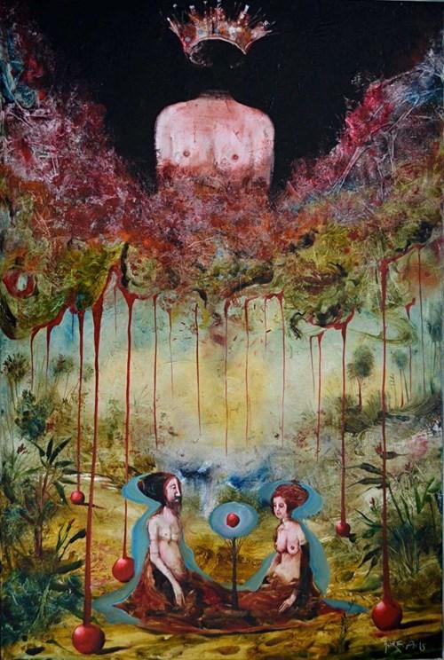Obraz do salonu artysty Andras Gyorfi pod tytułem Podaj mi jabłko