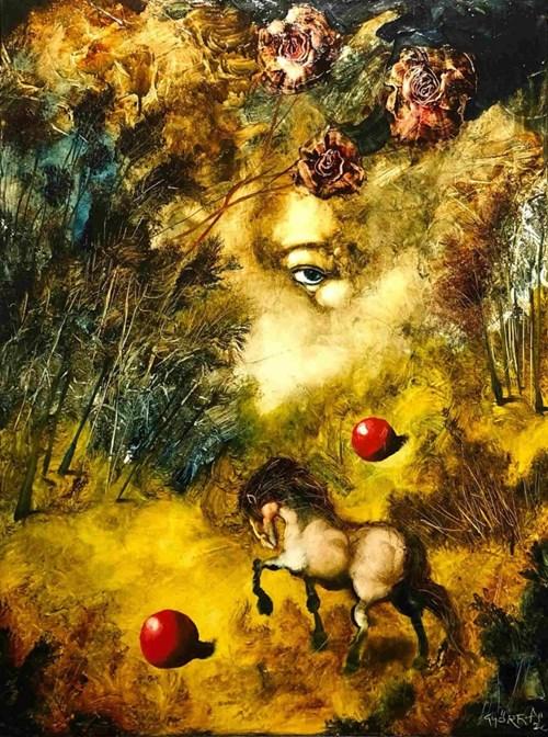 Obraz do salonu artysty Andras Gyorfi pod tytułem Koń i jego jeździec wg Beethovena