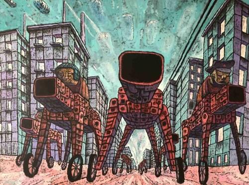 Obraz do salonu artysty Piotr Nogaj pod tytułem Jeźdźcy apokalipsy