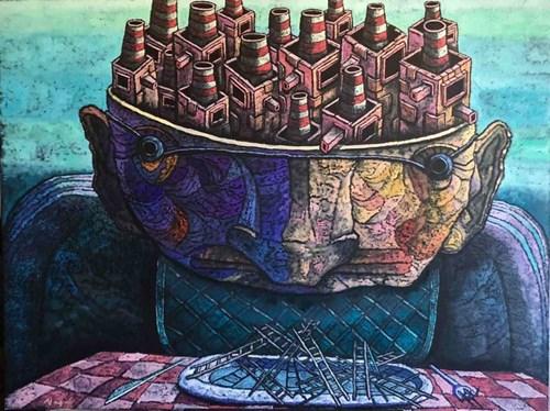 Obraz do salonu artysty Piotr Nogaj pod tytułem Sen Kominiarza