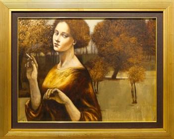 Obraz do salonu artysty Mira Skoczek-Wojnicka pod tytułem Kobieta z papierosem
