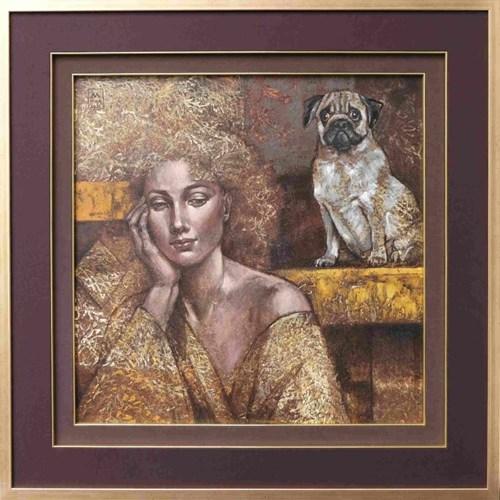 Obraz do salonu artysty Mira Skoczek-Wojnicka pod tytułem Ola ma psa mopsa