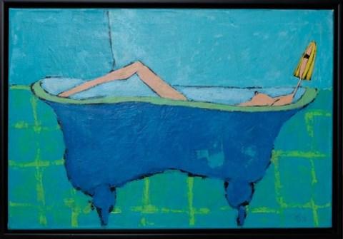 Obraz do salonu artysty Małgorzata Stępniak pod tytułem Błękitna kąpiel