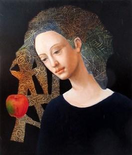 Obraz do salonu artysty Iwo Birkenmajer pod tytułem Anioł i tajemnica