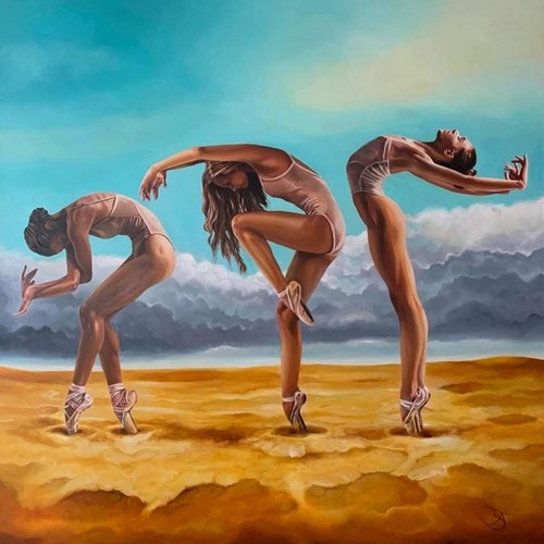 Living room painting by Andrzej Sajewski titled Prayer for Rain