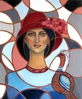 Obraz do salonu artysty Krystyna Ruminkiewicz pod tytułem Taka jedna w kółkowym zaplątaniu