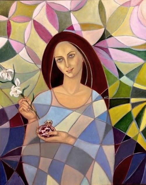 Obraz do salonu artysty Krystyna Ruminkiewicz pod tytułem Persefona, bogini wiosny