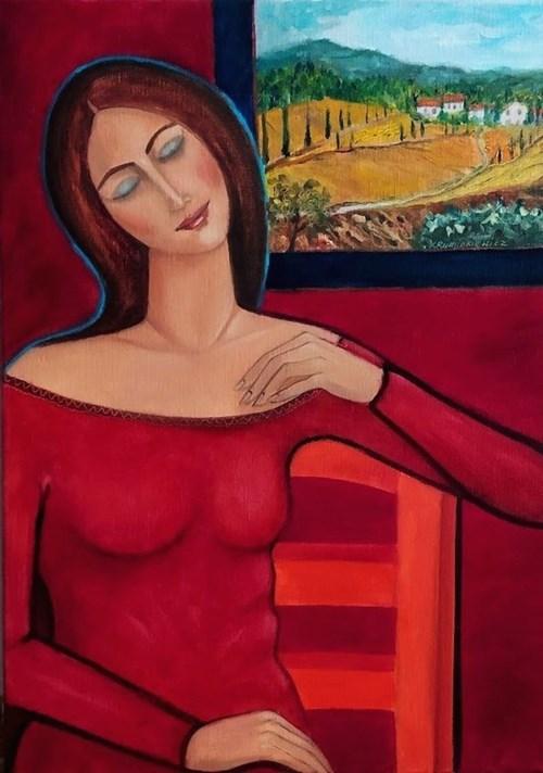 Obraz do salonu artysty Krystyna Ruminkiewicz pod tytułem Taka jedna marzy o Toskani