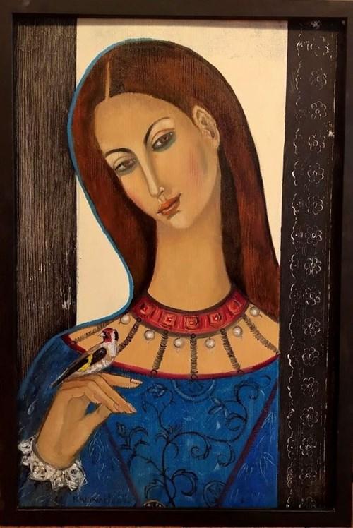 Obraz do salonu artysty Krystyna Ruminkiewicz pod tytułem Madonna ze szczygłem