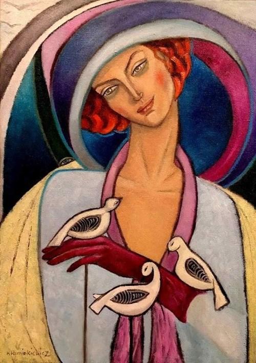 Obraz do salonu artysty Krystyna Ruminkiewicz pod tytułem Taka jedna bez pieska