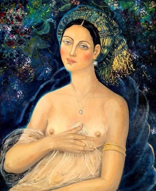 Obraz do salonu artysty Krystyna Ruminkiewicz pod tytułem Półakt dziewczyny w turbanie