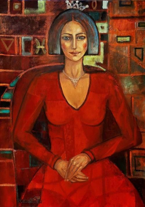 Obraz do salonu artysty Krystyna Ruminkiewicz pod tytułem Taka jedna w czerwonej sukience