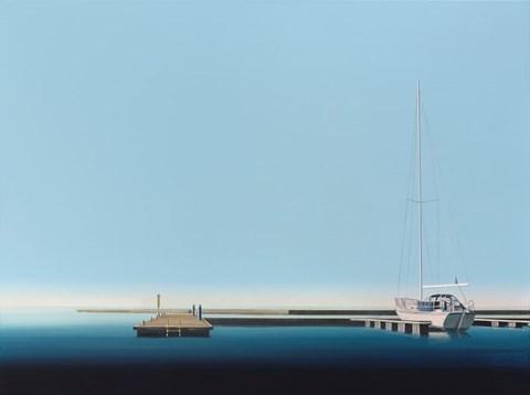 Living room painting by Tomasz Kołodziejczyk titled Yacht Harbor
