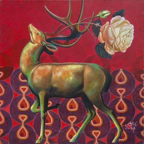 Obraz do salonu artysty Anna  Malinowska pod tytułem Jeleń i róża