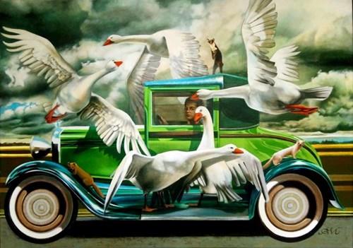 Obraz do salonu artysty Anna Malinowska pod tytułem Zielona Limuzyna