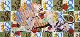 Lew z jabłkami