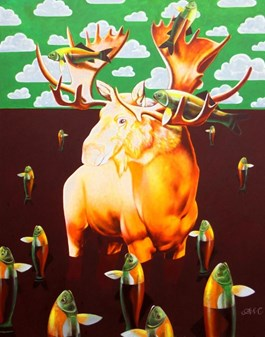 Living room painting by Anna  Malinowska titled Gold Moose