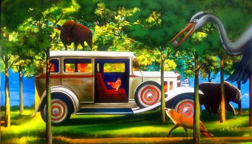 Living room painting by Anna Malinowska titled Chicken in Limousine