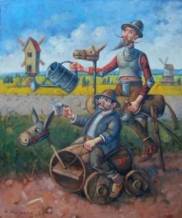 Obraz do salonu artysty Dariusz  Miliński pod tytułem Don Kichot od kwiatków