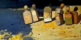 Obraz do salonu artysty Dominik Woźniak pod tytułem Podróżnicy