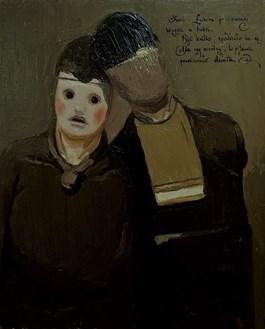 Rzeźba do salonu artysty Dominik Woźniak pod tytułem Karol i Łukasz po pierwszej wizycie