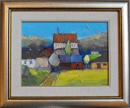 Obraz do salonu artysty Krzysztof Raczyński-Krzyr pod tytułem Pejzaż z klasztorem