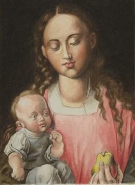 Obraz do salonu artysty Piotr Stefanow pod tytułem Madonna z dzieciątkiem (na podst. Durera)