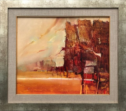 Living room painting by Renata Bonczar titled Horizon of Events