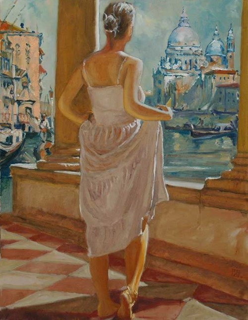Obraz do salonu artysty Dariusz Żejmo pod tytułem Spojrzenie na dawną Wenecję