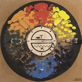 Obraz do salonu artysty Tomasz Kawiak pod tytułem Malarstwo zostawiania śladów wokół osi