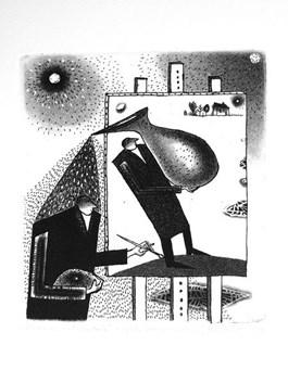 Obraz do salonu artysty Jerzy DMITRUK pod tytułem Strumień natchnień z cyklu Siewca urodzaju