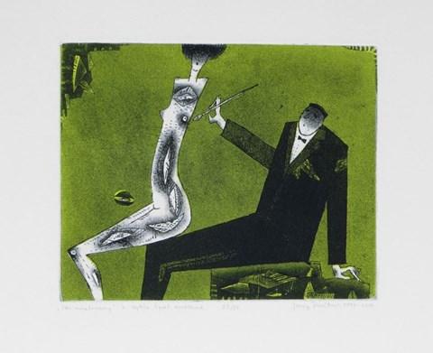 Obraz do salonu artysty Jerzy DMITRUK pod tytułem Sen malowany z cyklu Żywot malarza, 23 z 50