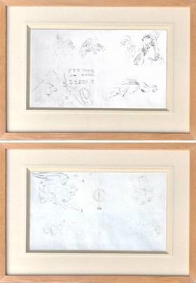 Szkice postaci, koni, zapiski (praca dwustronna)