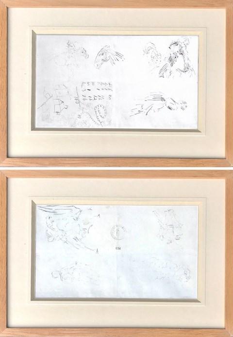 Obraz do salonu artysty Jacek Malczewski pod tytułem Szkice postaci, koni, zapiski (praca dwustronna)