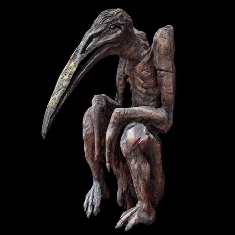 Rzeźba do salonu artysty Marcin Myśliwiec pod tytułem Nielot siedzący
