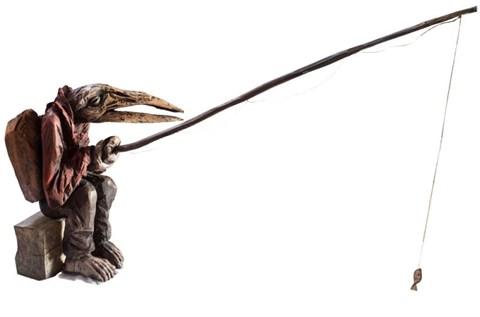 Rzeźba do salonu artysty Marcin Myśliwiec pod tytułem Nielot Wędkarz