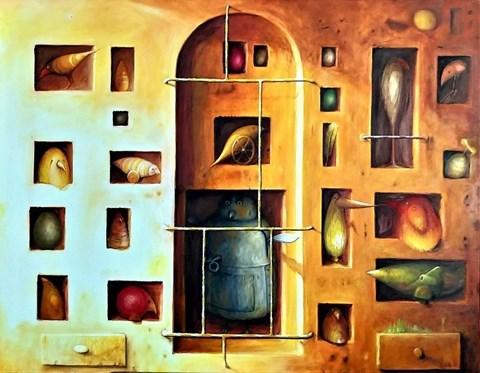 Obraz do salonu artysty Zbigniew Olszewski pod tytułem Woliera-kolekcja