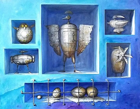 Living room painting by Zbigniew Olszewski titled Heavy Metal (Collections Series)