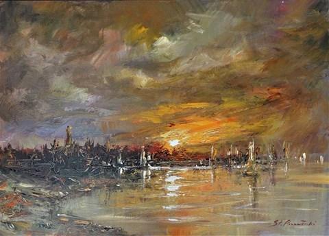 Obraz do salonu artysty Stanisław Przewłocki pod tytułem Oddech Słońca nad zatoką