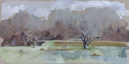 Obraz do salonu artysty Joanna Półkośnik pod tytułem Jabłonie w oczekiwaniu na wiosnę