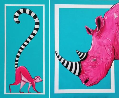 Obraz do salonu artysty Aleksandra Lacheta pod tytułem Lemur i nosorożec (dyptyk)