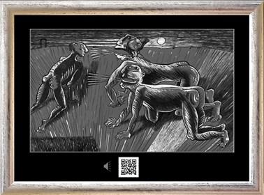 Obraz do salonu artysty Janusz Wieczorek pod tytułem SPOTKANIE W ŚWIETLE LATARNI